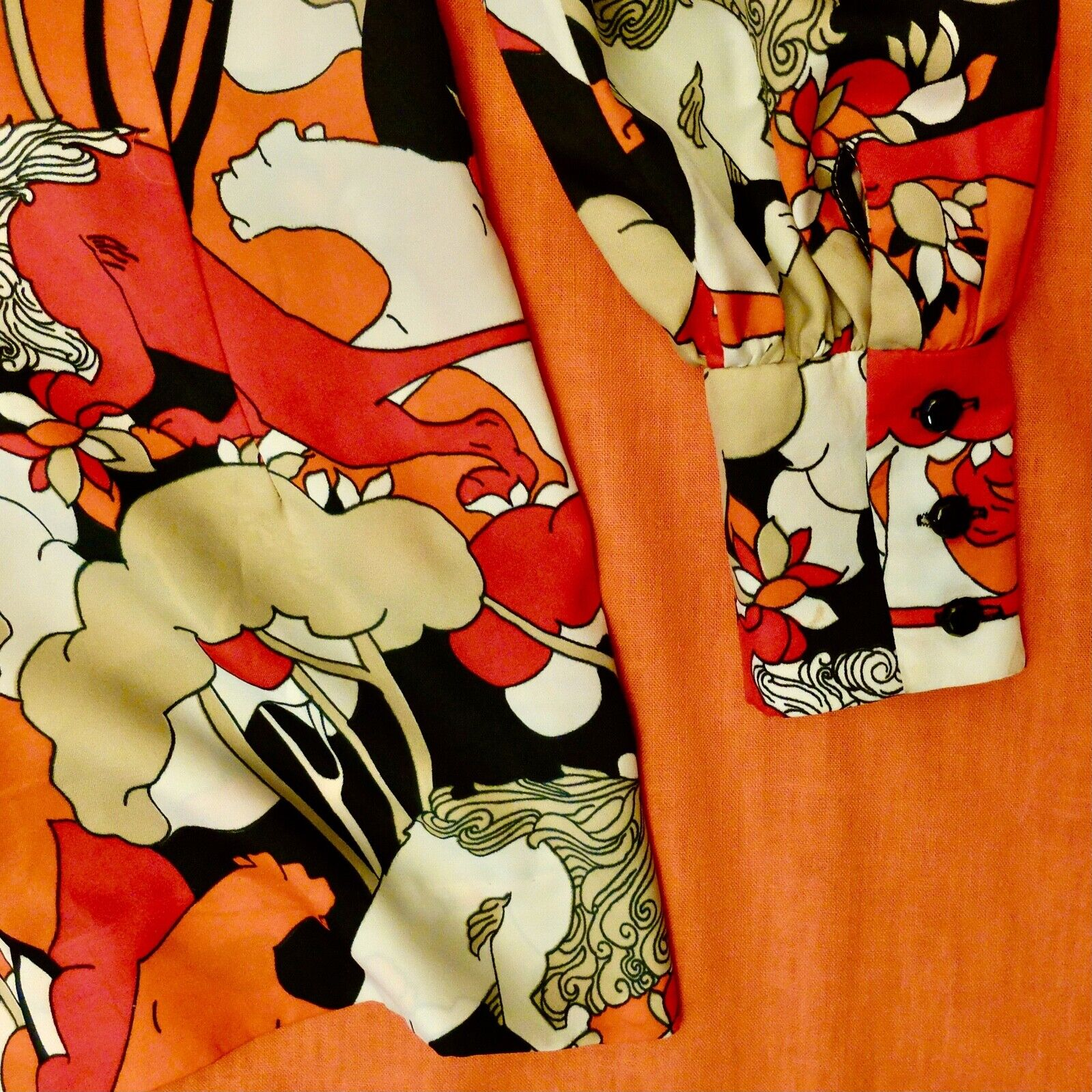 Vintage 60s 70s Handmade Psychedelic Lion Print R… - image 8