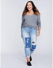 Lane Bryant Women's Patchwork Distressed Boyfriend Jeans Size 26
