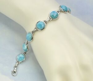 Image Is Loading Stunning Larimar Bracelet Ten 8mm Round Cabochon 925