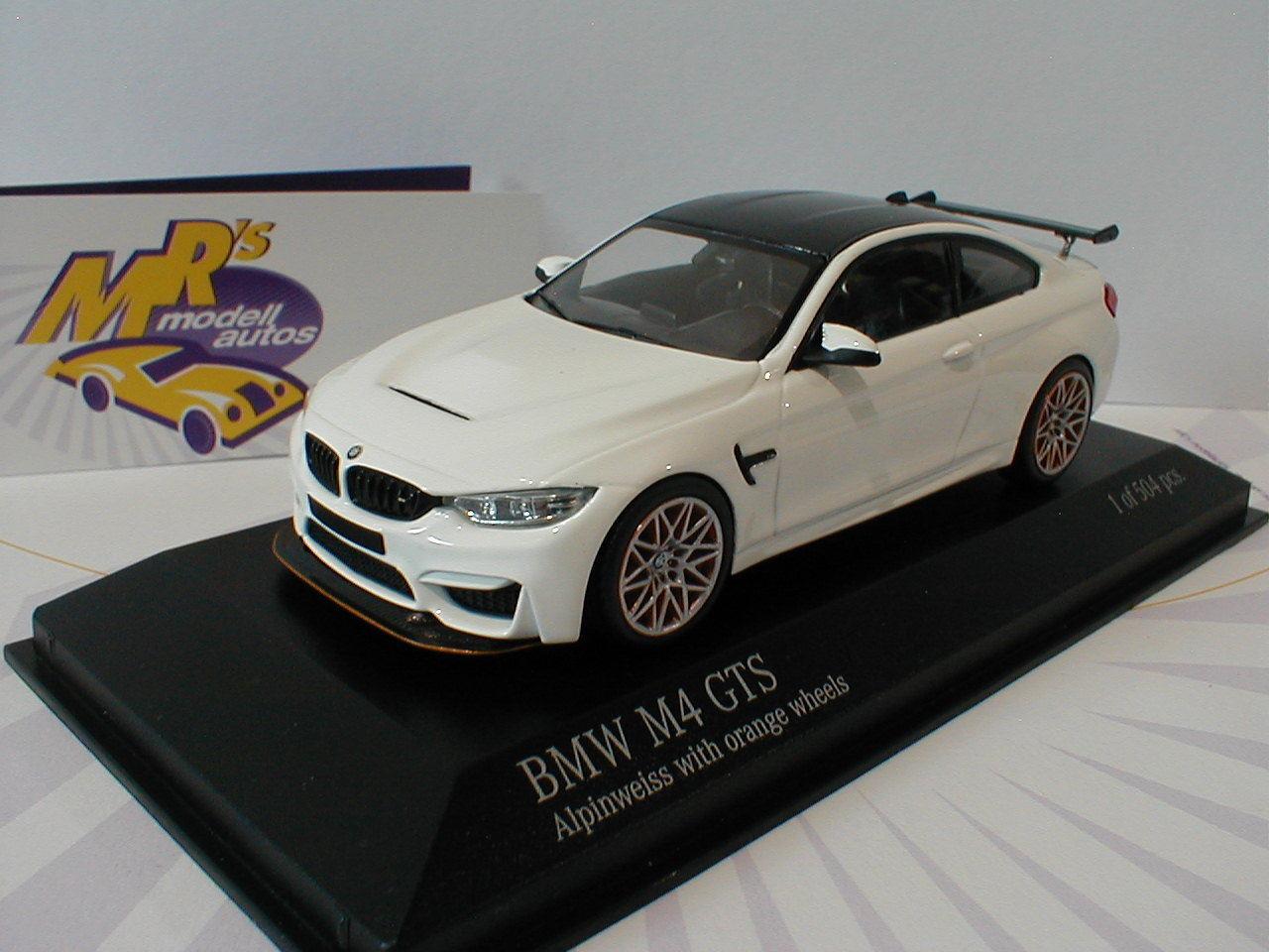 Minichamps 410025226 - BMW M4 GTS Baujahr 2016   Alpinweiß-Orange   1 43 Lim.Ed.