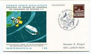 100% Vrai 1969 Hermann Oberth Gesellschaft Weltraums Cuxhaven 1 Drucksache Bausteinkarte48