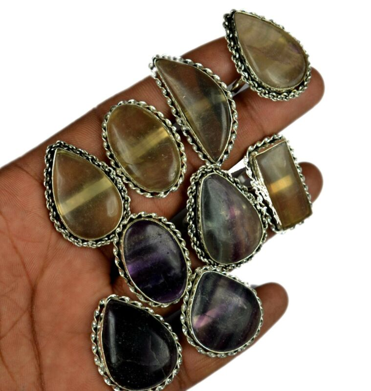 100% Natural Fluorite Gemstone 925 Sterling Silver Overlay Wholesale Lot Rings