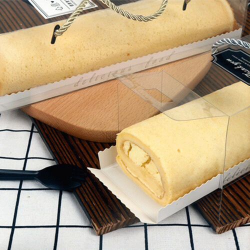 10Pcs Transparent Portable Cake Swiss Roll Boxes PET Packaging Dessert Container