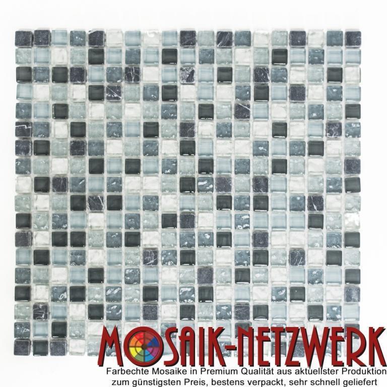 Mosaik Naturstein Glas Quadrat Crystal mix klar grau silber Art  92-0208_f   1qm