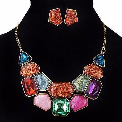 Fashion Crystal Women Chain Pendant Stone Statement Bib Necklace Earrings Set