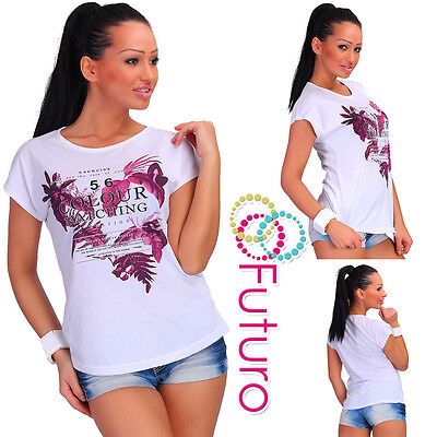 Casual T-shirt Colour Matching Print Cotton Top Party Tunic Sizes 8-14 Fb193