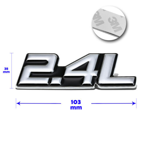 """/""""2.4L/""""Polished Metal 3D Decal Silver/&Black Emblem For Toyota//Chevrolet//Saturn"""