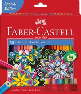 Lot-60-Crayons-de-Couleurs-Faber-Castell-3-8mm-Dessin-Art-Chateau-Accordeon
