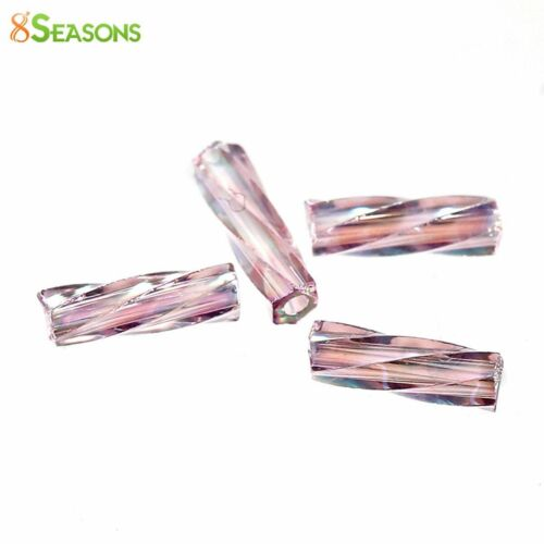 Japanese Glass Seed Beads Twisted Bugle Purple Ab Color About 6x2mm