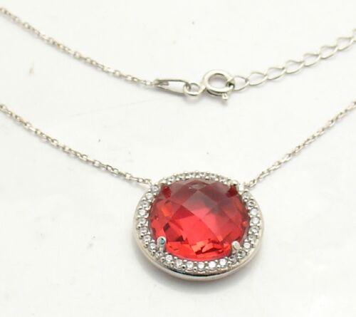 Adjustable Ruby and CZ Gemstone Pendant Chain Anti-Tarnish Rhodium Clad Silver