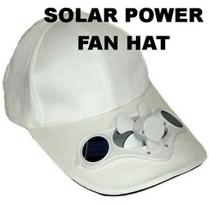 3e6f3674855 WHITE Solar Power Panel Fan Hat Powered Operated Cool Men Women Kid ...