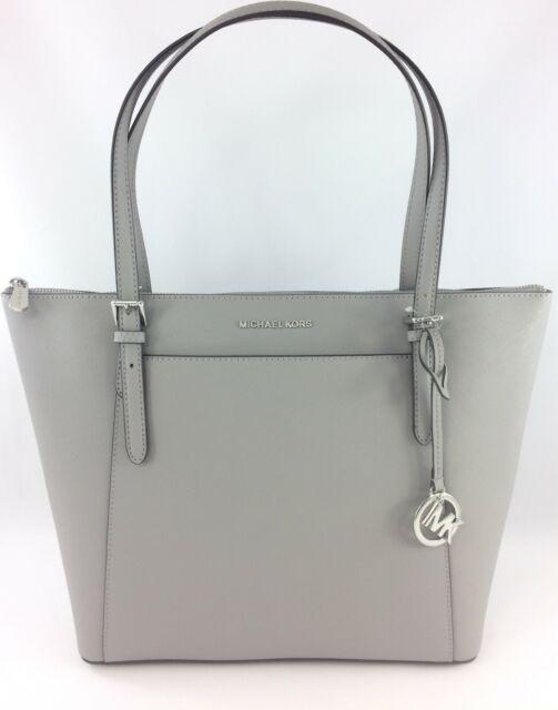 5a5f31278b24 NEW Authentic Michael Kors Ciara EW Large Top Zip Tote Shoulder Bag Purse  Grey