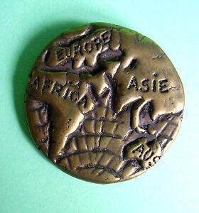 Frugal 233 / Broche Planisphere Metal Vieilli