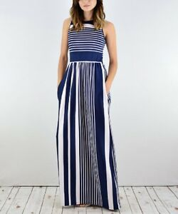Maxi Dress Size 6 Sleeveless Ladies Long Navy Blue & White Striped With Pockets