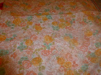 Entusiasta 2x,1m=neuf ,tissu Petites Roses Orangées,vintage Petits Vétements Poupées ,etc.
