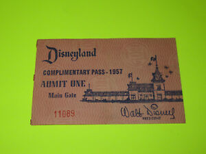 VINTAGE-1957-DISNEYLAND-MAIN-GATE-TICKET-LOW-NUMBER-11089-RARE