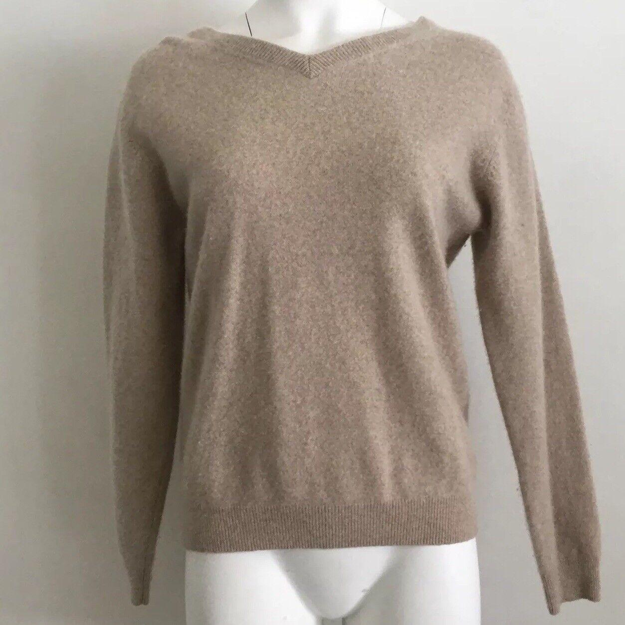 Pronto men Womens Sweater M M M Medium 100% Cashmere Beige Brown Minimalist 3f3883
