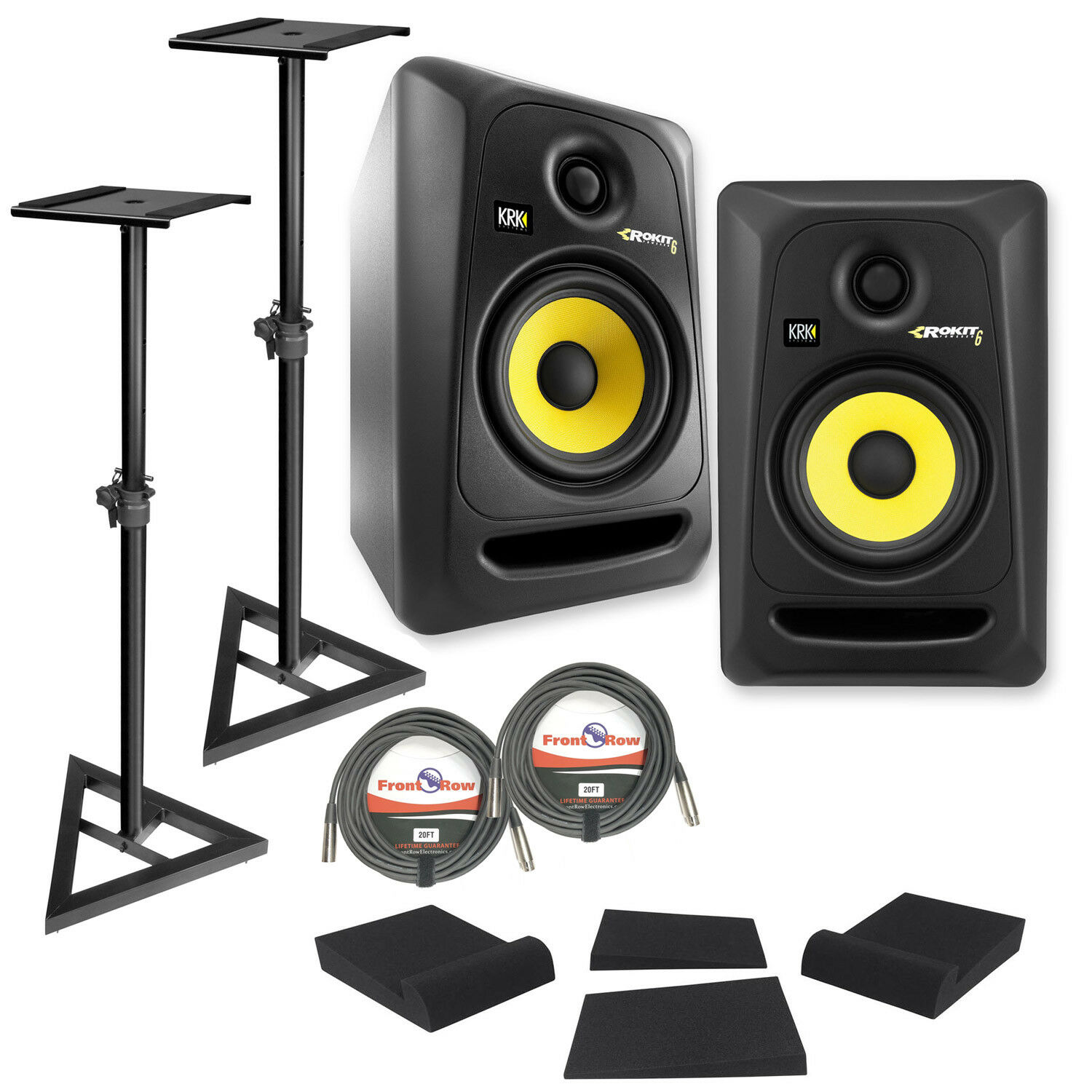 2) KRK RP6-G3 Rokit Powered 6  Powered Studio Monitors+Stands+MOPAD+2 Cables