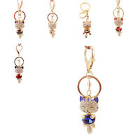 2016 Lucky Cat Cute Keyring Charm Rhinestone Pendant Bag Key Chain Gift 6Colors