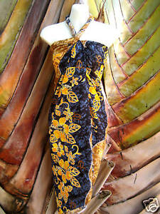 702a914218 Image is loading Hawaii-Pareo-Sarong-Black-Brown-Turtle-Hibiscus-Luau-