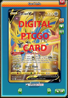 Secret Rare 211//20 Pokemon TCGO Online Digital Card Sword and Shield Zacian V
