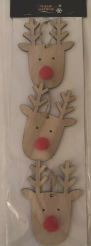 Pack Of 3-10cm Free Post Christmas Rudolph Natural Wood Hanger Decorations