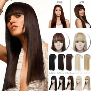 Details about Brown Straight Clip In Hair Extension Premium Topper Hair  Piece Wispy Bangs fyas