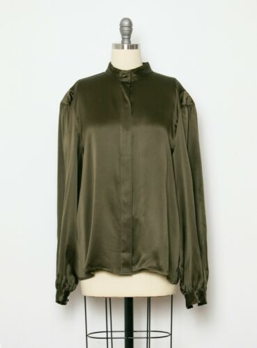 1980s Silk Blouse Forest Green L
