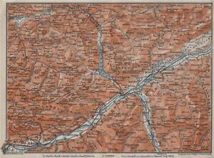 Unterinntal Rattenberg Innsbruck Karwendel 1910 Map Lustrous Art Maps, Atlases & Globes Honest Achensee Environs/umgebung