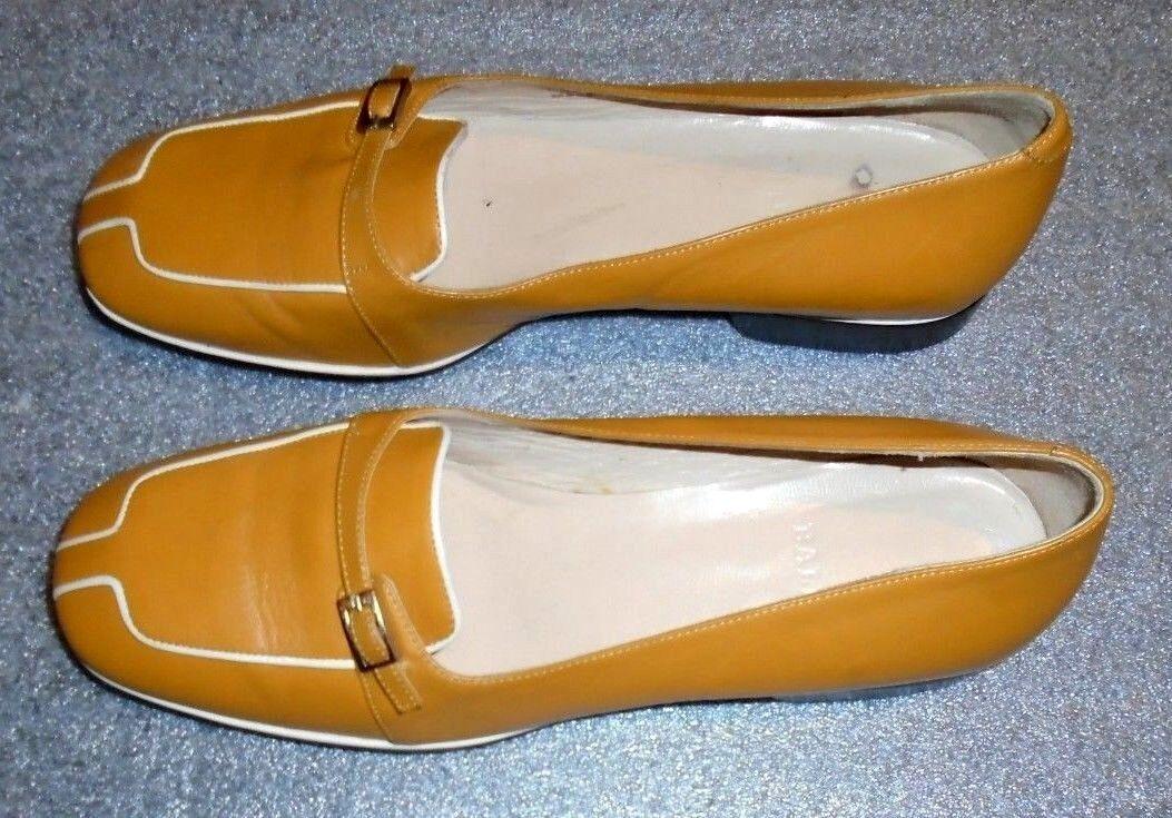 Fine donna Bally tan leather loafer scarpe Dimensione 7 1 2 M