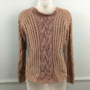 River-Island-womens-jumper-size-UK-8-brown-chunky-cable-knit-slouch-Wool-Blend