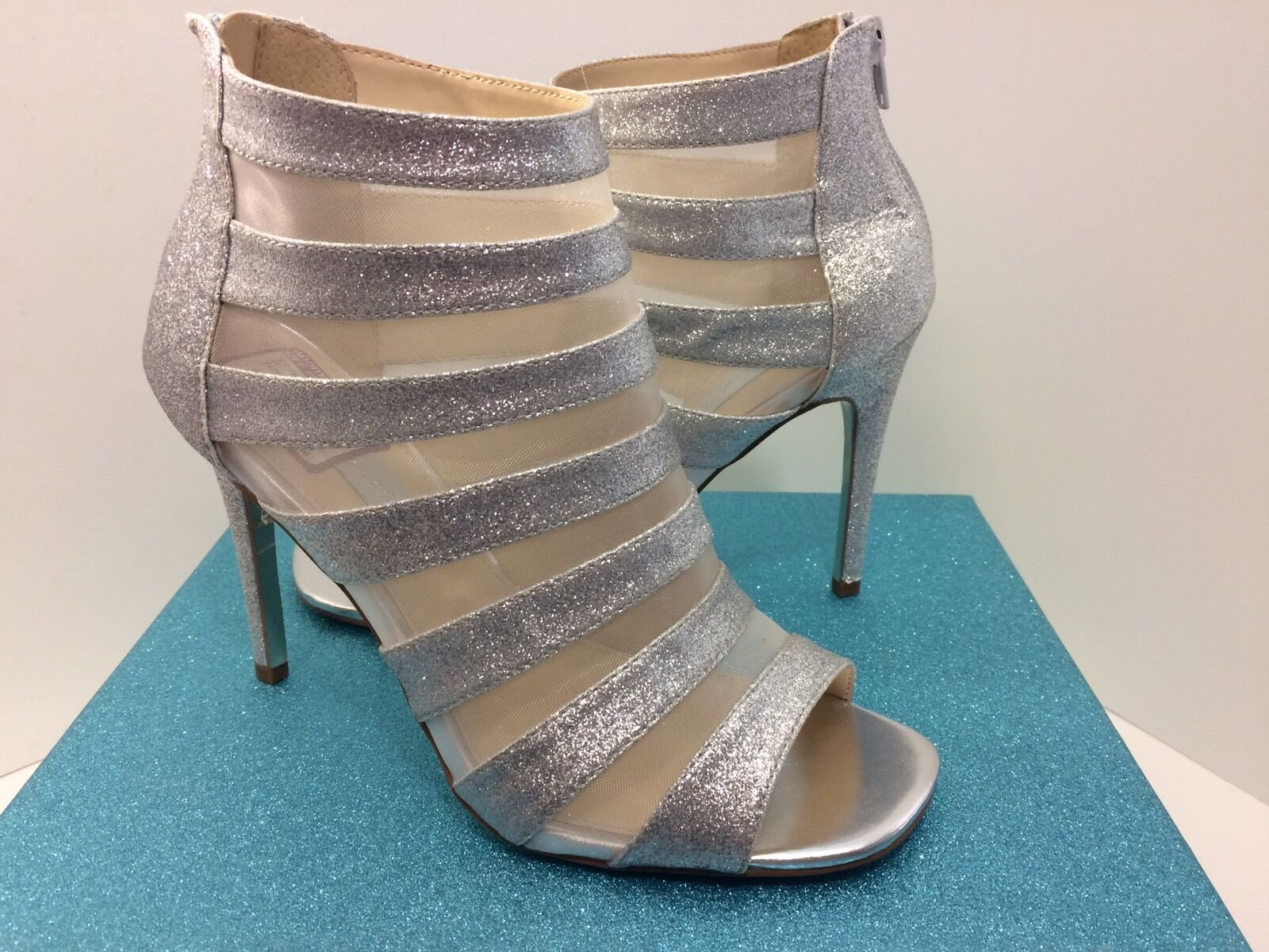 Betsey Johnson Hazel argent Open Toe Glitter Mesh Heels Sz 9.5 9 1 2 NEW Bridal