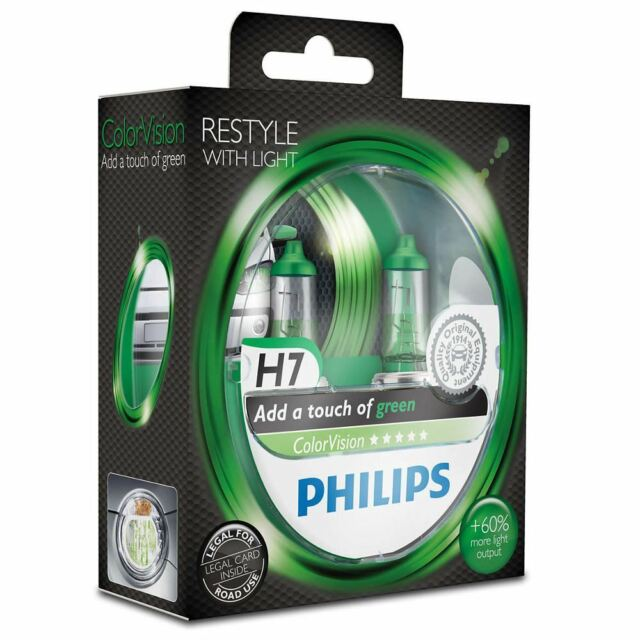PHILIPS ColorVision Green H7 Halogen 12V 55W PX26d More light Lamp 2 bulbs
