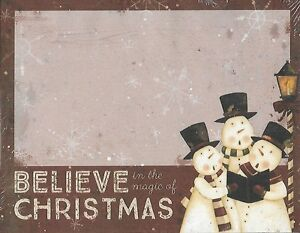 """BELIEVE In The Magic Of CHRISTMAS - NOTEPAD - 6"""" x 4-1/2"""" SNOWMAN Basket Fillers"""