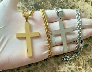 """20/""""MEN Stainless Steel 2.5mm Gold Smooth Rope Chain Necklace Cross Pendant*GP"""