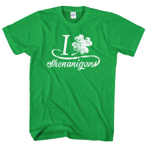 I Love Shenanigans T-Shirt St Patrick/'s Day Top Shirt Tee Men Funny Irish L242