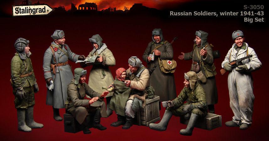 1/35 Kit Personaggio Resina Scala Ww2 Russo Soldati,  Inverno  Big Set