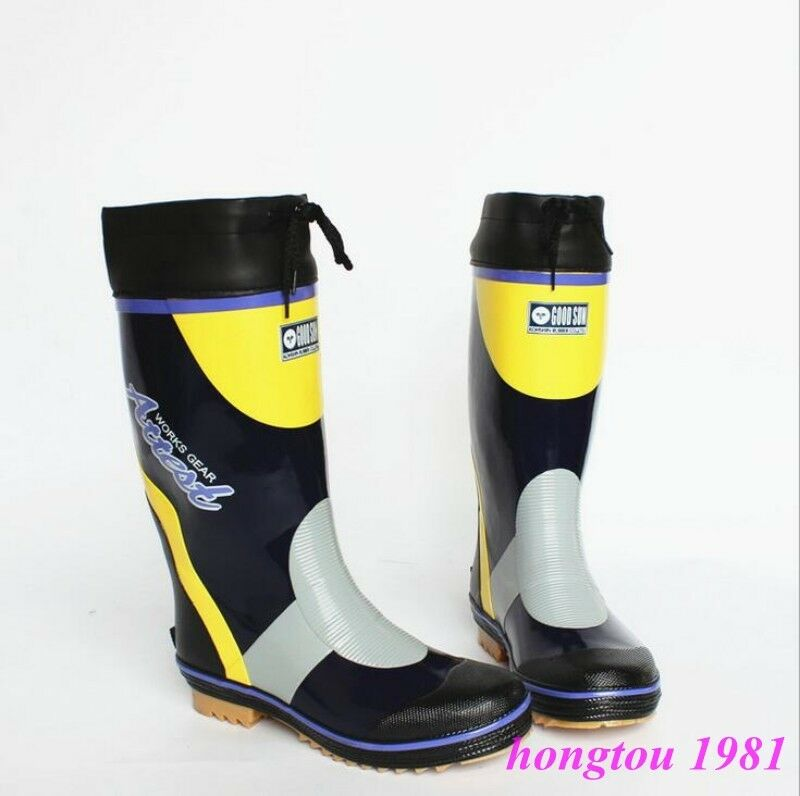 Fashion Mens Mid Calf Boots Rainboots Wellington Non-Slip shoes Waterproof New