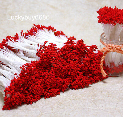 250xRed Double Sided Round Flower Stamens Craft  Wedding Card Artificial floral