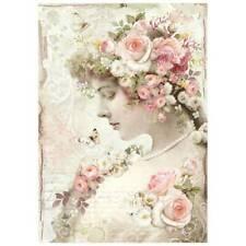Stamperia textura de papel de arroz A4 Rosas Grande Para Decoupage dfsa 4402