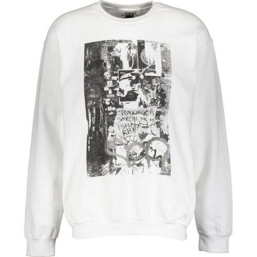 Designer BOLONGARO TREVOR White Black Graphic Print Sweatshirt Jumper size L