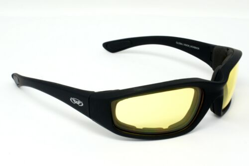 New Shatterproof UV400 Yellow Tinted motorcycle wraparound biker glasses + pouch