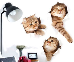 3d Large Wall Cat Kitten Stickers Bedroom Decal Fridge Mural Art Decor Removable Ebay