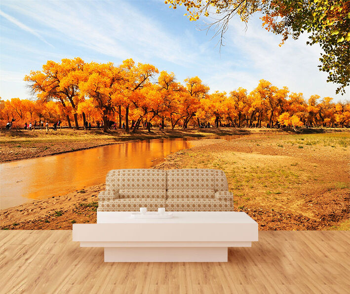 3D Gelbe Wald, Fluss 99 Fototapeten Wandbild Bild Tapete Familie Kinder