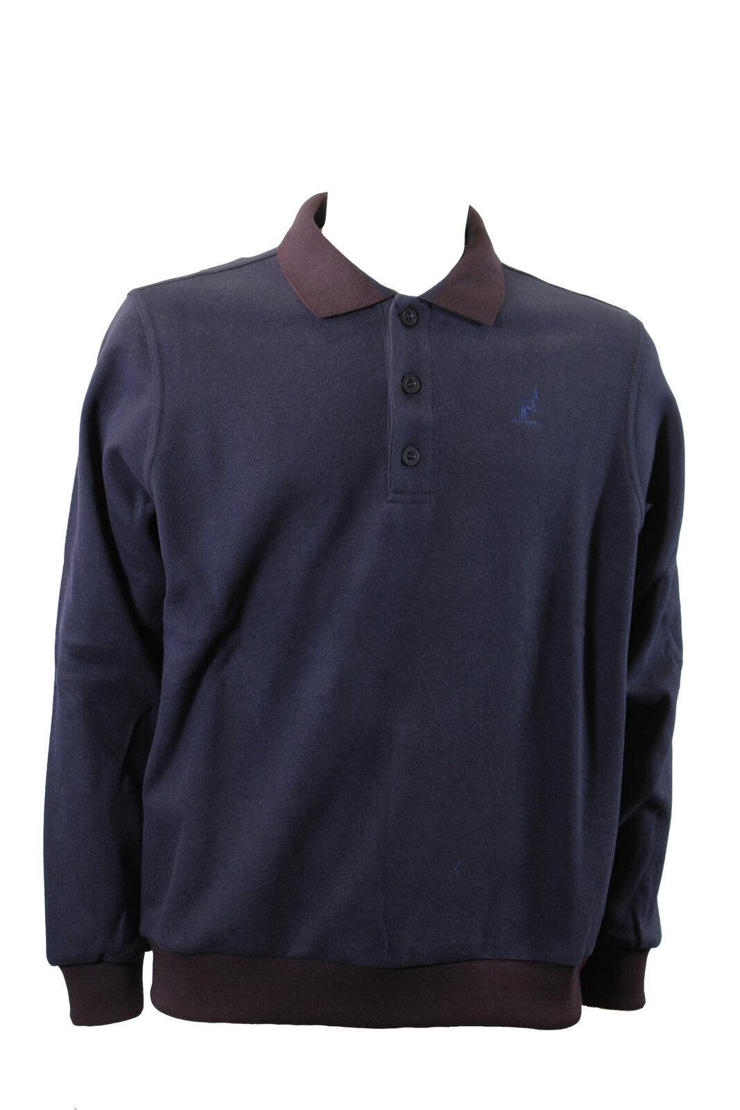 Polo da uomo blu Australian manica lunga cotone colletto bottoni polsino casual