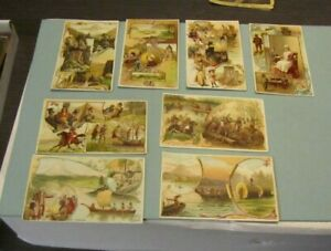 1892 Arbuckle Coffee History of the United States 8 Victorian Trade Card Lot