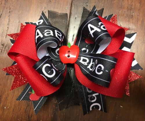 Apple Stacked Boutique Hair Bow Back to School Toddler Girl Clip ABC Ribbon