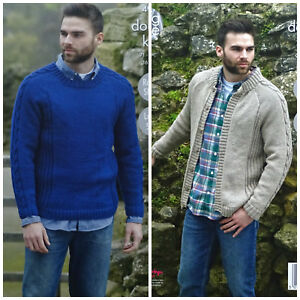 f6fdd5b0158 KNITTING PATTERN Mens Long Cable Sleeve Jumper   Jacket +Sizes DK ...