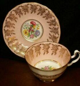 Vintage Adderley Fine Bone China Tea Cup & Saucer - Pink w/ gold trim & flowers