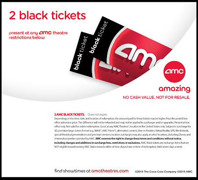 Amc Theater 2 Black Movie Tickets Fast E Delivery 50 States No Expiration Ebay